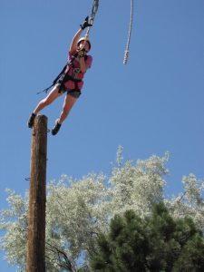 Rachel Dunbar literally took flight during Taking Flight Nature Camp! Photo by Tyler Edmondson.