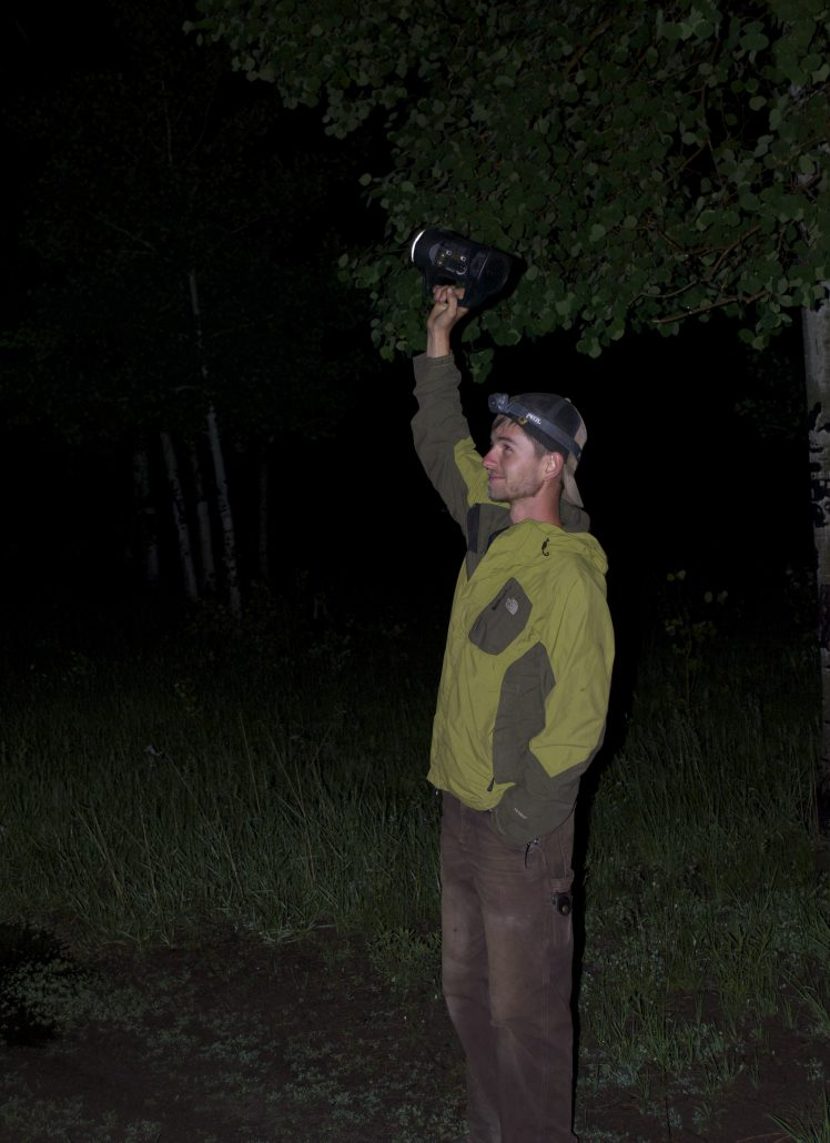 Bird Conservancy of the Rockies field technician broadcasting calls of Spotted Owls Photo by Wendy Lanier.