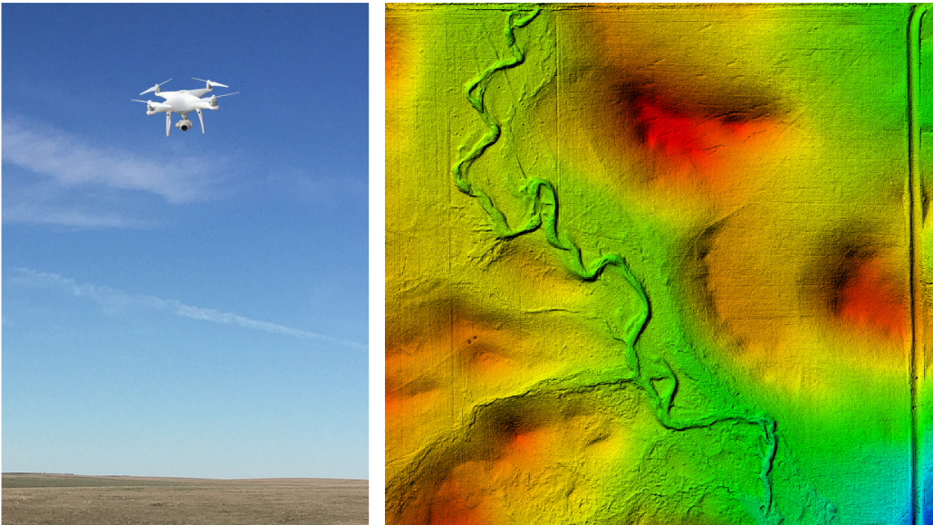 "Left: The newest addition to the International team, our new drone ""Ammodronus"" (Mo Correll) Right: a Digital Surface Model (DSM) of one of our North Dakota plots, produced using drone aerial imaging (Mo Correll)"